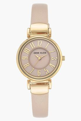 ANNE KLEIN Womens Pink Mother Of Pearl Dial Leather Strap Watch
