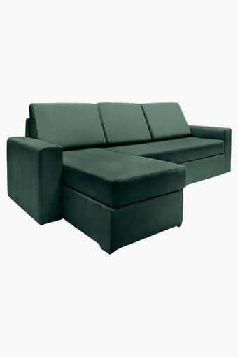 Calypso Green Fabric Sectional Sofa Bed (2 Seater - 1 Lounger)