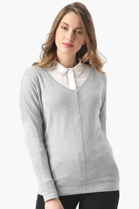 MARIE CLAIRE Womens Solid Sweater