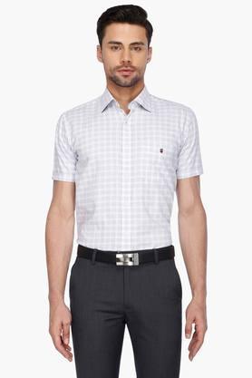 Louis Philippe Sports Formal Shirts (Men's) - Mens Half Sleeves Formal Check Shirt
