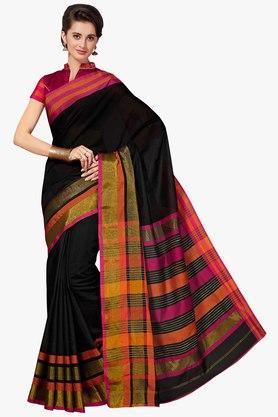 ASHIKAWomens Stripe Golden Weave Saree - 201754554