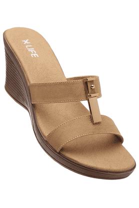 LIFEWomens Beige Wedge Sandal