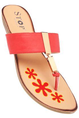 STOP Womens Red Susan Slipon Flat Sandal