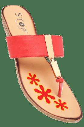 STOPWomens Red Susan Slipon Flat Sandal