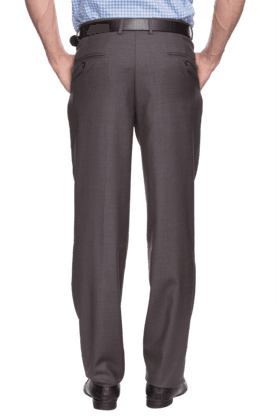 Mens Pleated Front Regular Fit Solid Trouser