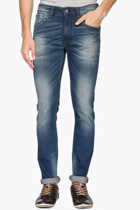 IZOD Mens Slim Fit 5 Pocket Heavy Wash Jeans