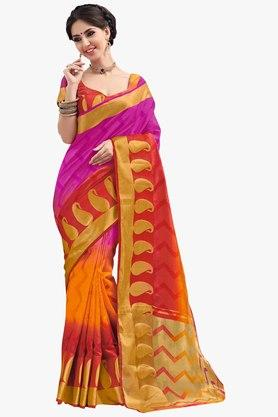 ASHIKA Womens Colour Block Brasso Saree - 201754577