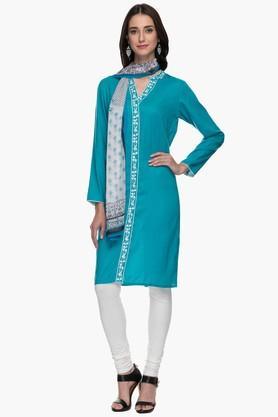 IMARAWomens Mandarin Neck Self Pattern Churidar Suit