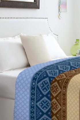 SPACESAtrium Brown & Blue Cotton Double Comforter