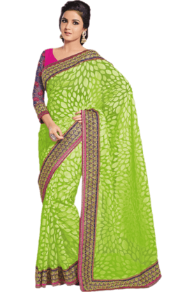 DEMARCA Womens Embroidered Saree (Buy Any Demarca Product & Get A Pair Of Matching Earrings Free) - 200946956