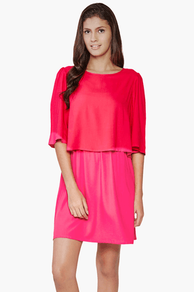 Womens Slim Fit Solid Layered Dress