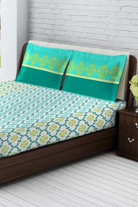 TANGERINE Tangy Orange Cotton Double Bedsheet With 2 Pillow Covers - Blue & Green