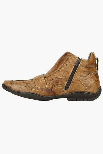 f744cd15272 Buy BUCKAROO Mens Leather Zipper Closure Boots | Shoppers Stop