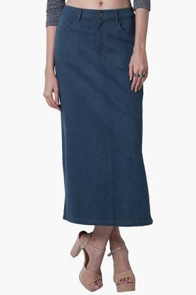 FABALLEY Womens Denim Maxi Skirt