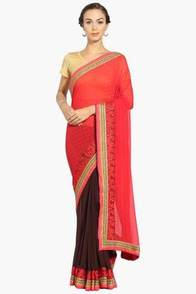 Womens Georgette Colour Block Saree With Blouse Piece - 202531454