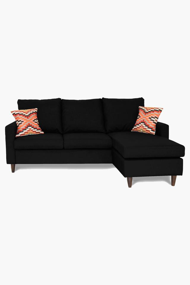 Black Water Repellent Fabric Sofa (2 Seater - 1 Lounger)