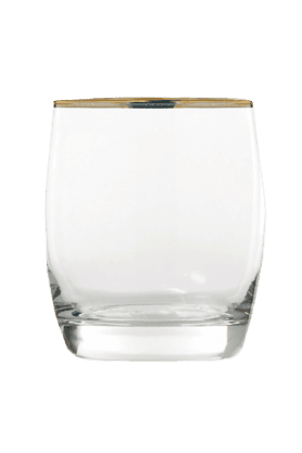 Ivory Rock Gold Band Glass (Set Of 6)