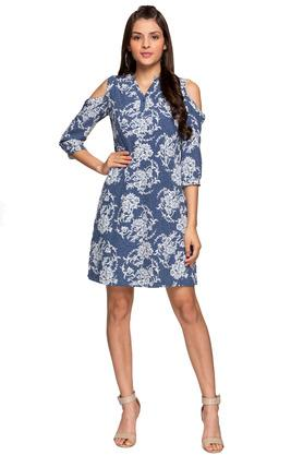 Womens Notched Collar Printed Shift Dress