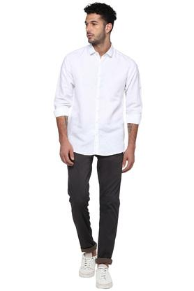 Mens Slim Collar Self Printed Shirt