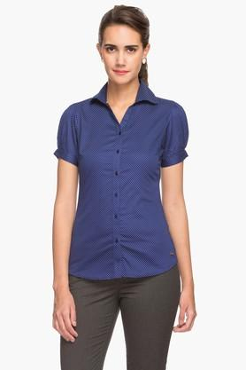 Womens Dotted Pattern Formal Shirt