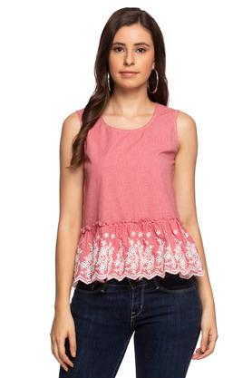 Womens Round Neck Check Embroidered Peplum Top