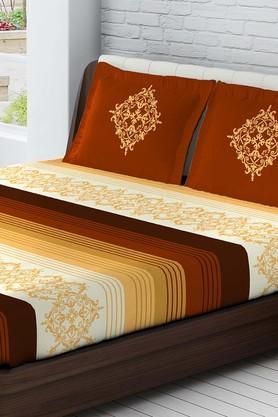 TANGERINECotton Stripe Medium Bedsheet And Pillow Set
