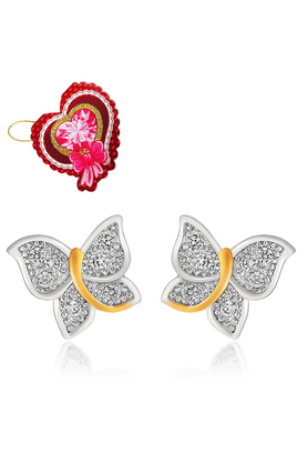 MAHI Mahi Flying Butterfly Stud Earrings With CZ With Heart Shaped Card For Women ER5109326GCd