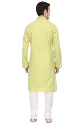 Mens Mandarin Collar Printed Kurta and Pyjamas Set