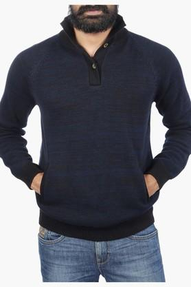 WRANGLERMens Full Sleeves Collared Neck Solid Sweater