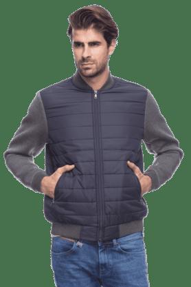 INDIAN TERRAINMens Full Sleeves Slim Fit Solid Jacket