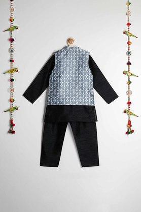 STOP - Black & WhiteKurta Pyjama Jacket Set - 1