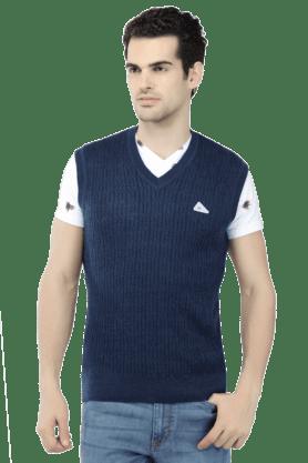 MONTE CARLOMens Sleeveless V Neck Slim Fit Stripe Sweater