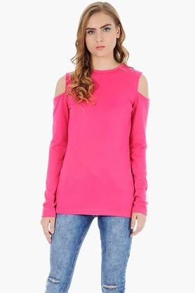 FABALLEY Womens Round Neck Cold Shoulder Solid Cardigan