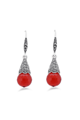 JAZZ Red Colour Antique Silver Plated Pearl Drop Earring