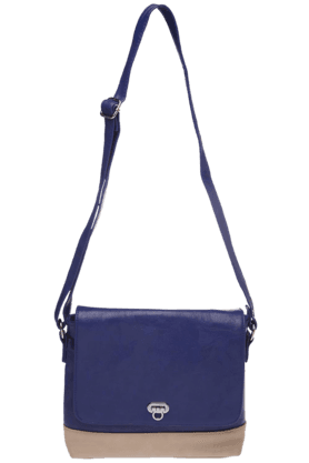 HAUTE CURRY Womens Blue Flap Over Sling Bag