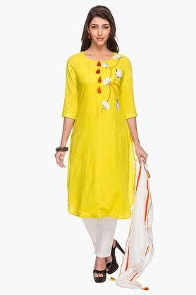 Womens Solid Embroidered Pant Suit