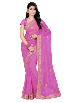 DEMARCAWomens Faux Chiffon Saree (Buy Any Demarca Product & Get A Pair Of Matching Earrings Free)