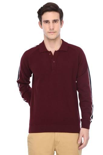 Mens Polo Collar Solid Sweater