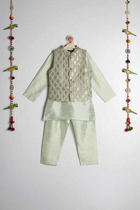 STOP - Green Kurta Pyjama Jacket Set - Main