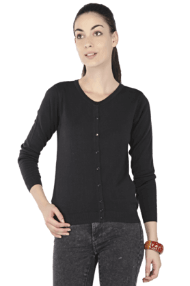 ALLEN SOLLY Women V-Neck Cardigan - 200156548