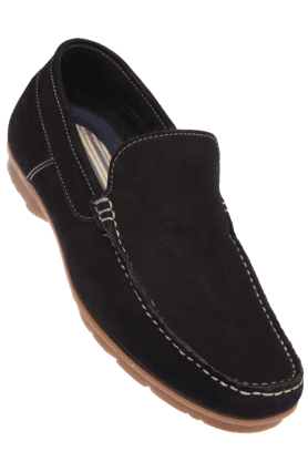 RUOSH Mens Black Suede Leather Casual Slipon Shoe