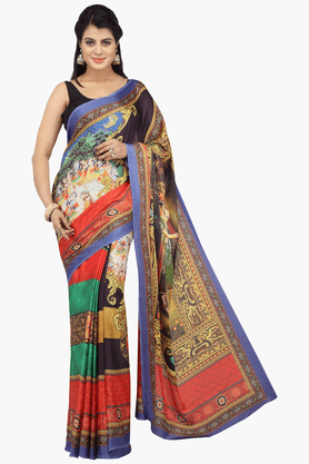 JASHN Womens Printed Saree With Blouse Piece - 201313150