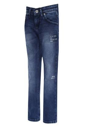 Boys 5 Pocket Whiskered Effect Jeans
