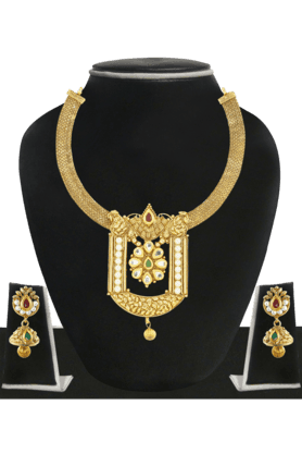 ZAVERI PEARLS Womens Gold Plated Necklace Set - 200929073