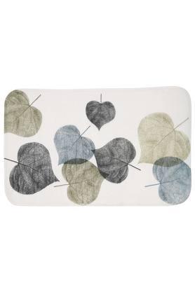 Rectangular Leaves Printed Bath Mat