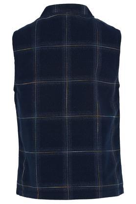 Boys Mandarin Collar Check Waistcoat