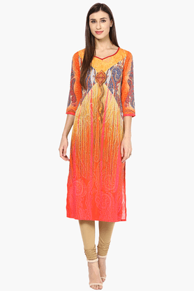 FUSION BEATS Womens Slim Fit Printed Kurta - 201217623