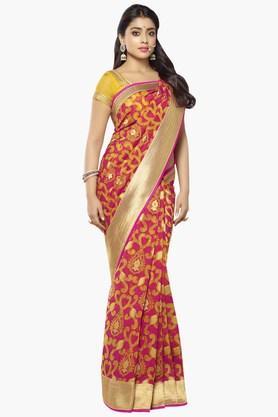 DEMARCA Womens Banarasi Kora Silk Designer Saree  ... - 202338309