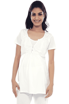 NINE MATERNITY Comfortable Jersey Nursing Blouse In White