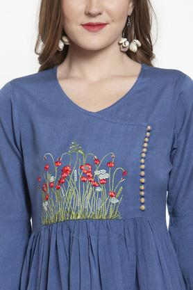 Womens V Neck Embroidered Flared Dress